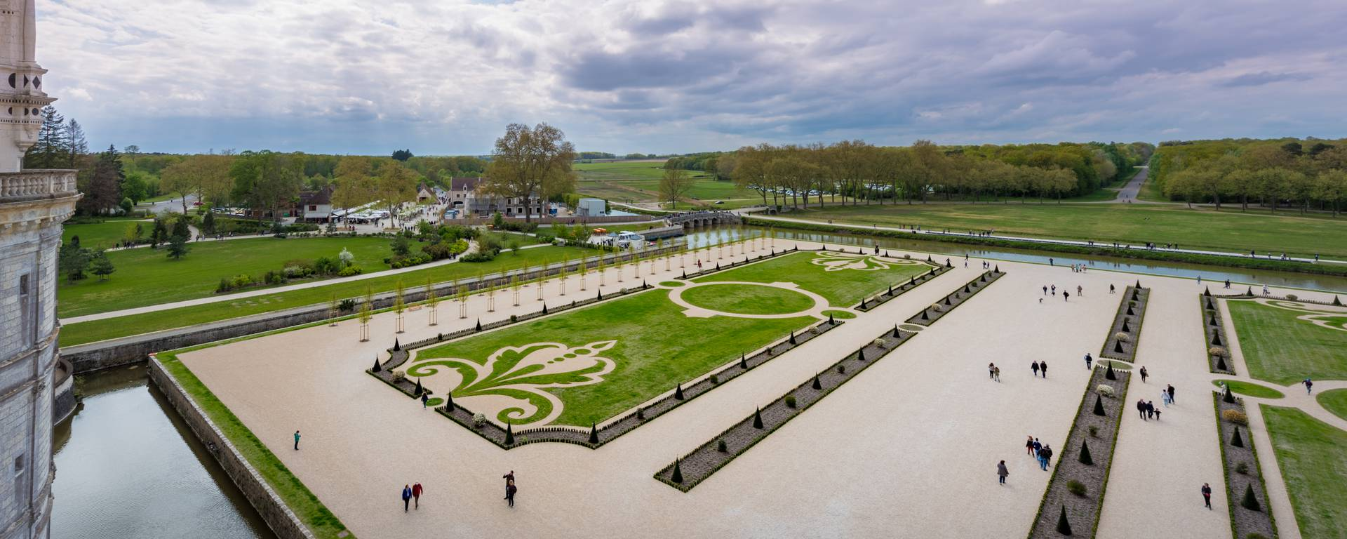 Luftansicht der Gärten von Chambord