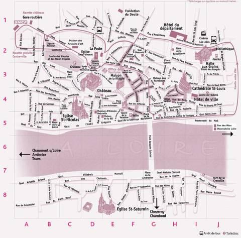 Karte von Blois und den Schlössern