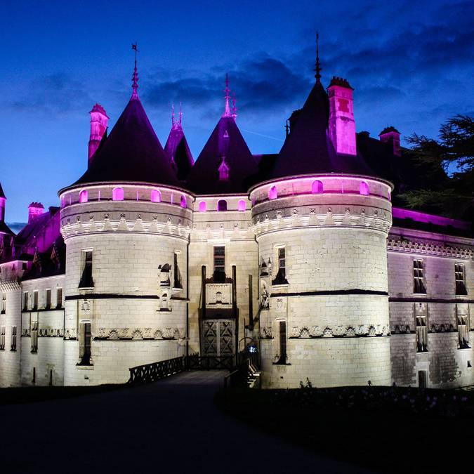 Das Schloss von Chaumont-sur-Loire bei Nacht